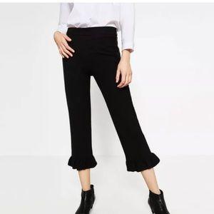 Zara Woman black cropped pants ruffle hem side zip